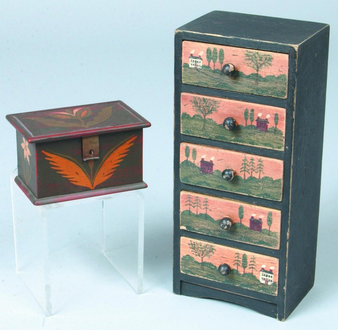21: Two Contemporary Folk Art Miniatures; Painted Trink