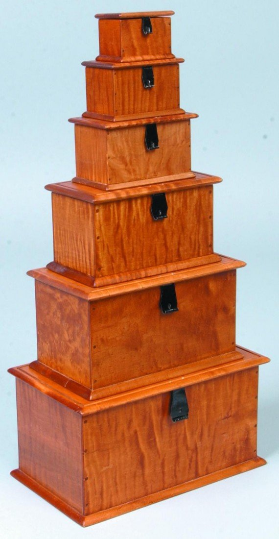 22: Six Graduated Miniature Tiger Maple Blanket Boxes;