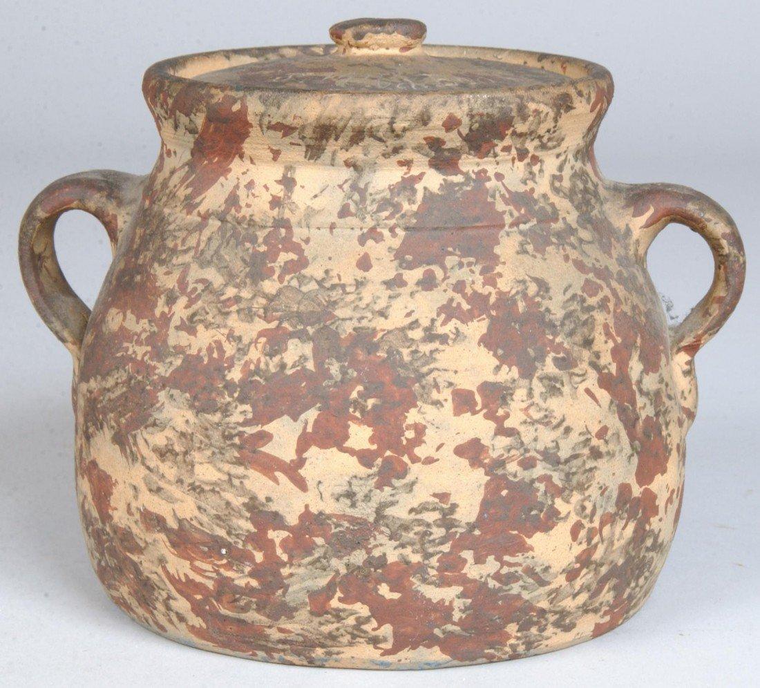 23: Paint Decorated Earthenware Bean Pot, bulbous crock