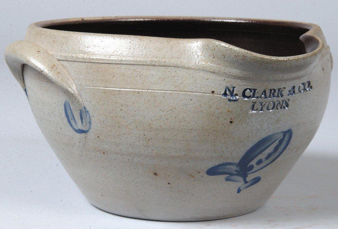 24: Cobalt Decorated Stoneware Bowl, applied handles, e