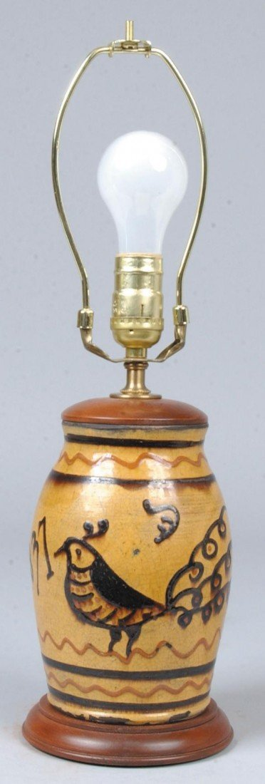 35: Redware Table Lamp, ochre ground with brown and red