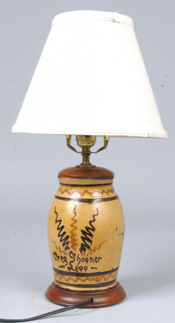 35: Redware Table Lamp, ochre ground with brown and red - 2
