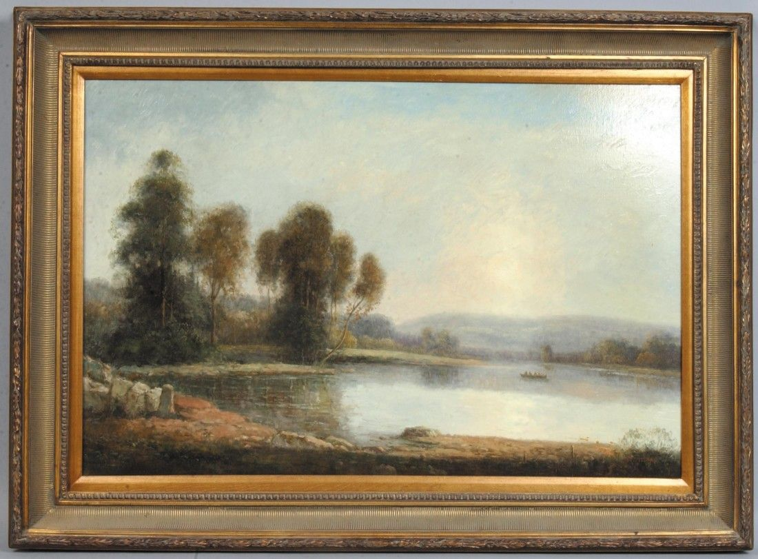 220: Oil on Canvas of Water Landscape, people in a boat