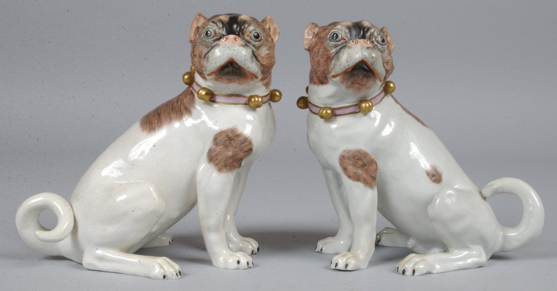 """468: Pair of Dresden Pugs, 11""""l.; seated opposing pair,"""