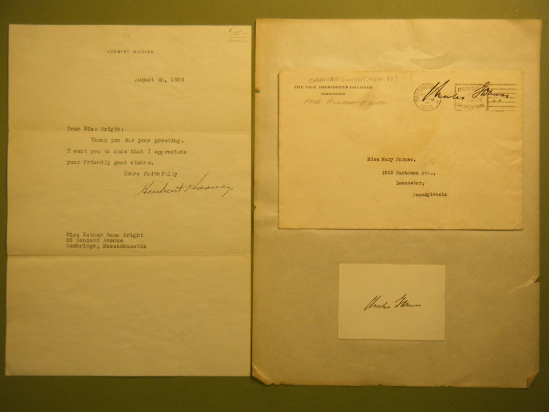 639: (Presidential & other Autographs) 1934 1-page TLs