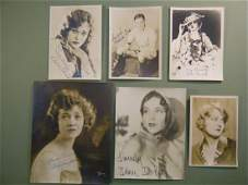 """646: (6 Signed Photos of Silent Screen Stars) 4 5""""x7"""" o"""