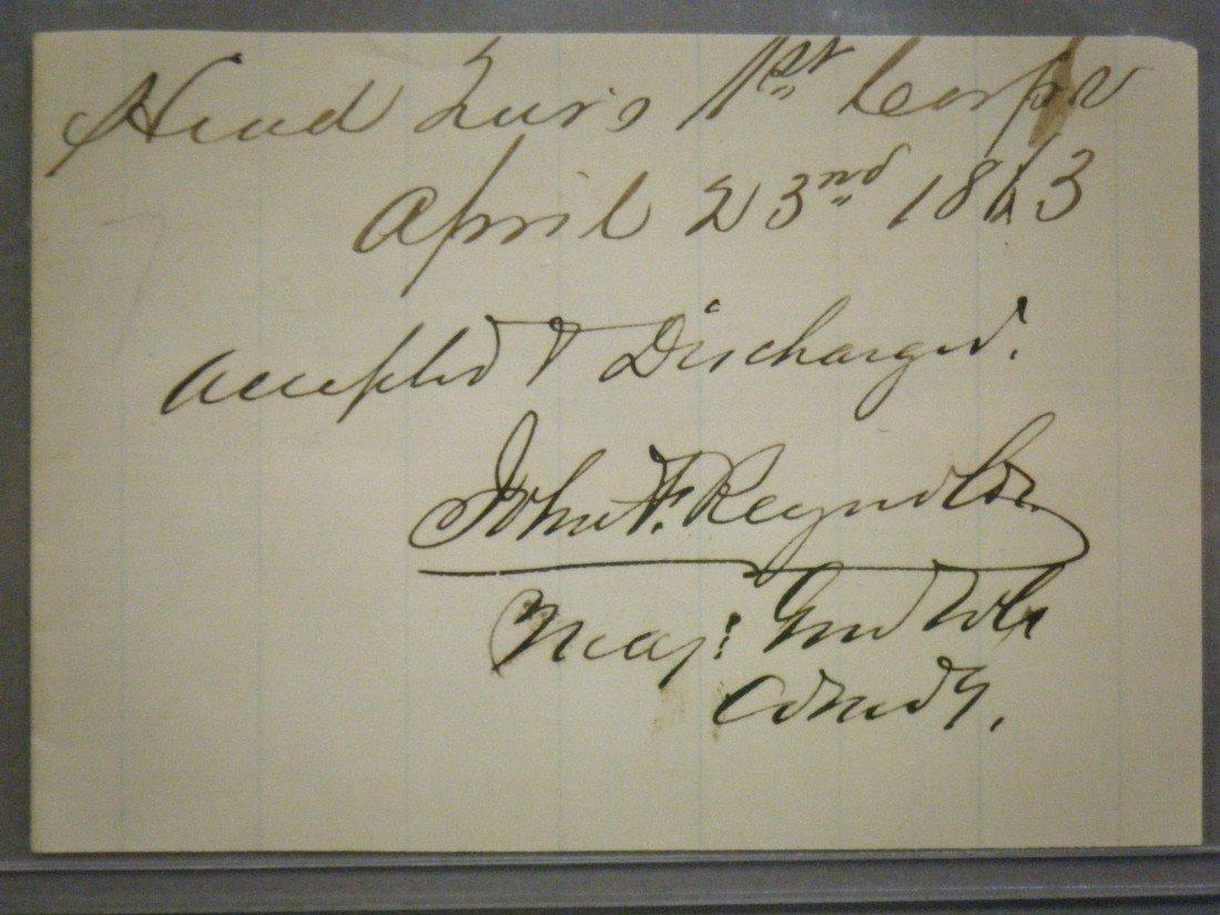 674: (Signature of Lancaster's General John F. Reynolds