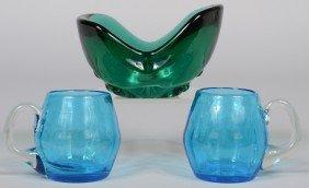 Three Pieces Blenko Glass, Heavy Emerald Waffle Base