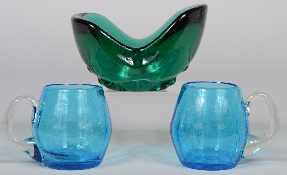 2: Three Pieces Blenko Glass, heavy emerald waffle base