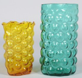 Two Blenko Bubble Wrap Vases, Jonquil And Sea Green,