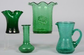 Four Green Blenko Crackle Glass Vessels, Small Pitch