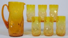 9: Six Jonquil Dimpled Crackle Tumblers with Pitcher, a