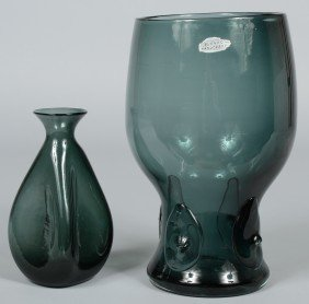 Two Charcoal Blenko Vases, Broken Pontils, Large Va