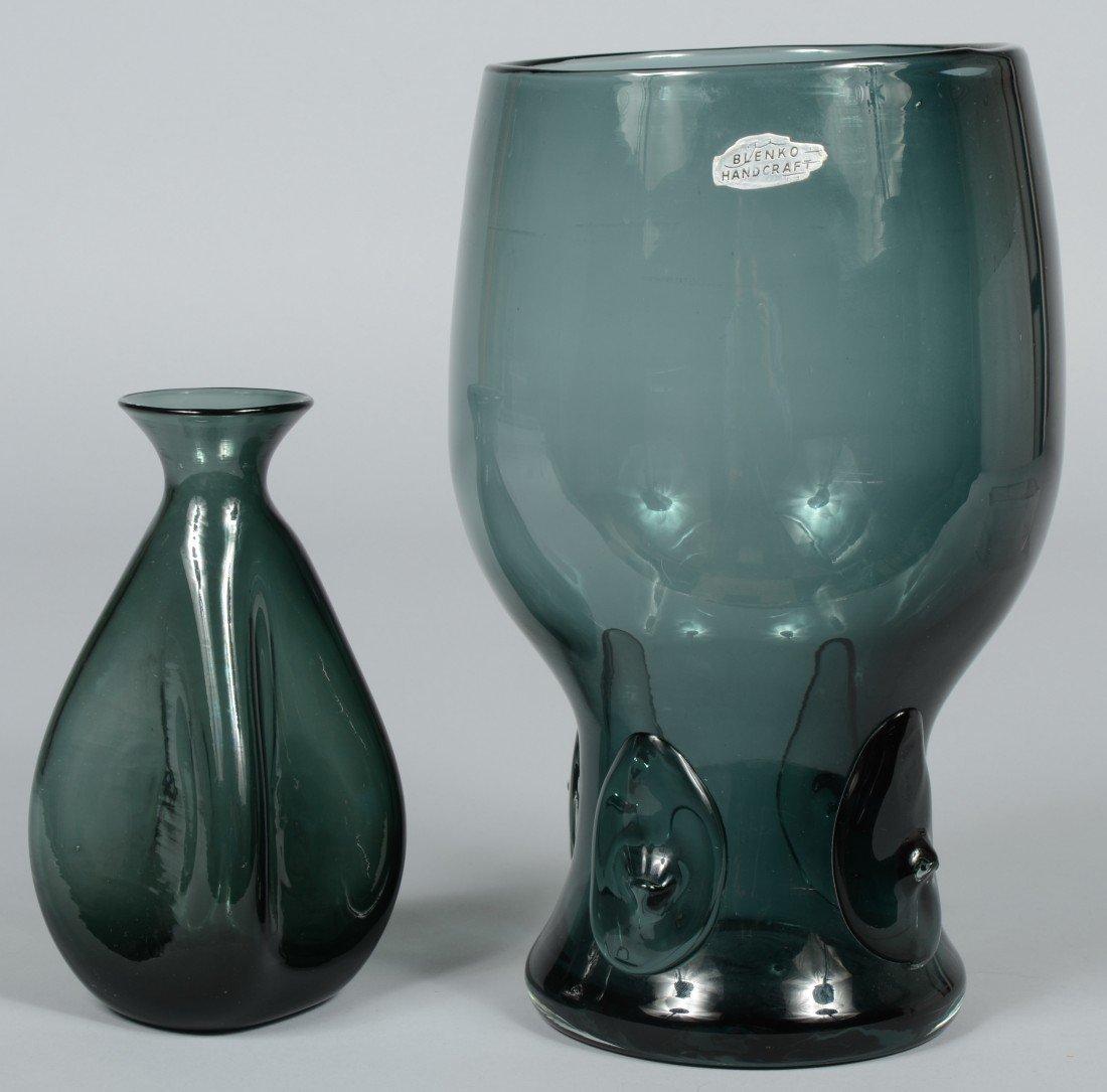 11: Two Charcoal Blenko Vases, broken pontils, large va