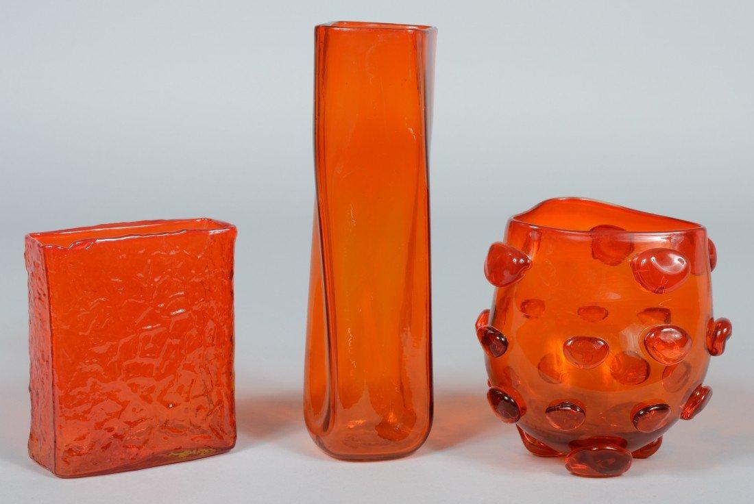 12: Three Tangerine Blenko Vases, triangular with blobs