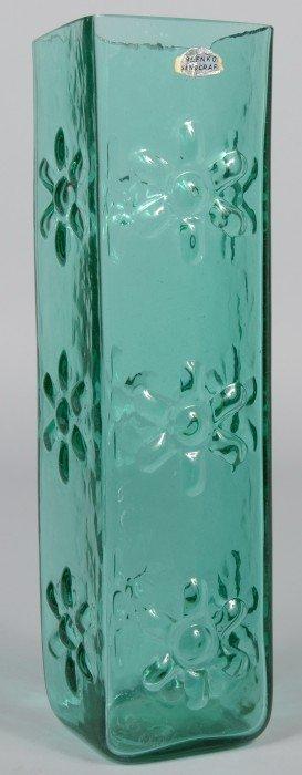 Sea Green Blenko Vase, Ground Top, Molded Flowers O