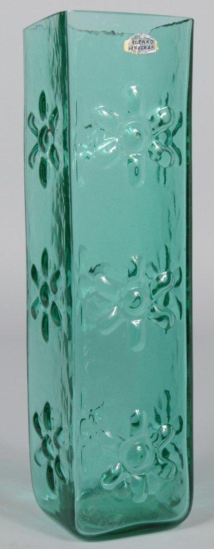 17: Sea Green Blenko Vase, ground top, molded flowers o