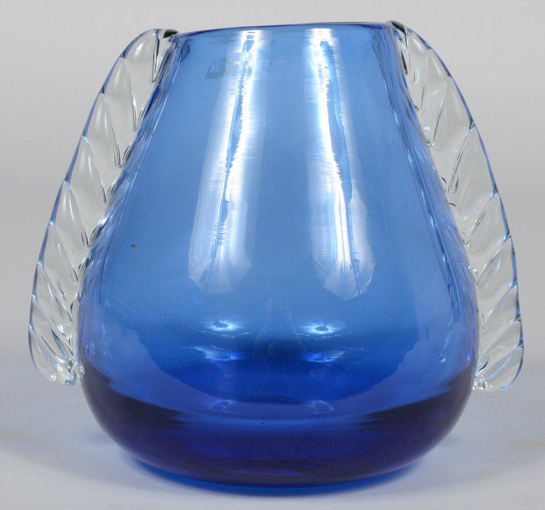 18: Blue Blenko Ear Vase, applied crystal roped ears, g