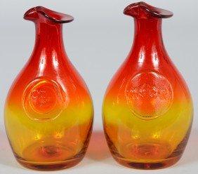 19: Pair of Blenko Tangerine Oil and Vinegar Cruets, fl