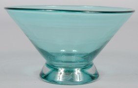 Turquoise Blenko Footed Bowl, Wide Flared Bowl, Unm