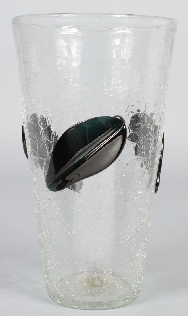 22: Large Crystal Crackle Blenko Vase, conical shape, t