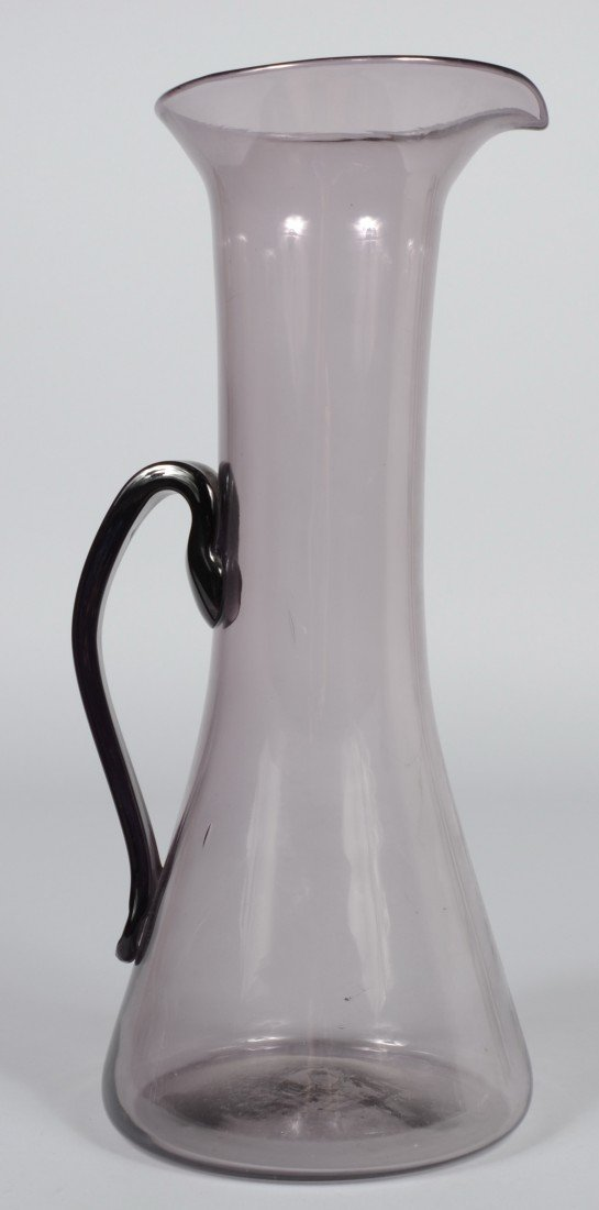 23: Tall Blenko Amethyst Pitcher, flared mouth with pul