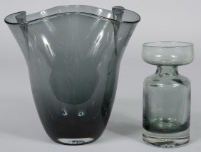 24: Two Blenko Charcoal Vases, a conical with wavy flar