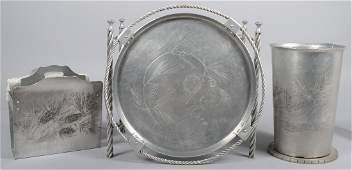 56: Three Pieces of Aluminum with embossed Pinecone Des