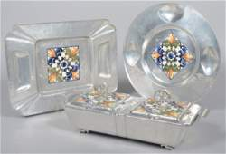 65: Three Pieces of Cellini-Craft Aluminum with Glazed