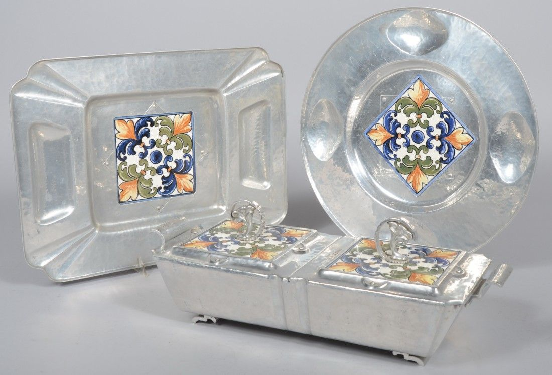 Three Pieces of Cellini-Craft Aluminum with Glazed