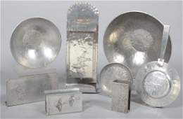 82: Nine Pieces of Aluminum with Embossed Flying Ducks