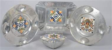 88: Four Pieces of Cellini-Craft Aluminum with Glazed T