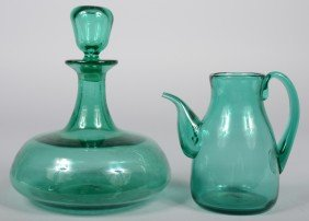 Two Sea Green Blenko Vessels, A Squat Decanter, Sh