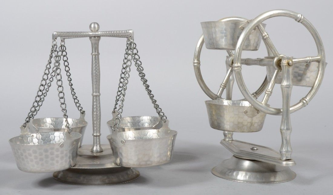 Two Hammered Aluminum Lazy Susan Condiment Servers
