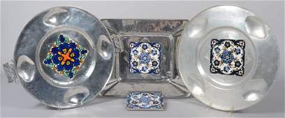Four Pieces of Cellini-Craft Aluminum with Glazed