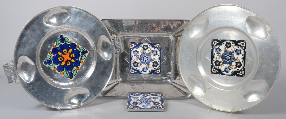 185: Four Pieces of Cellini-Craft Aluminum with Glazed