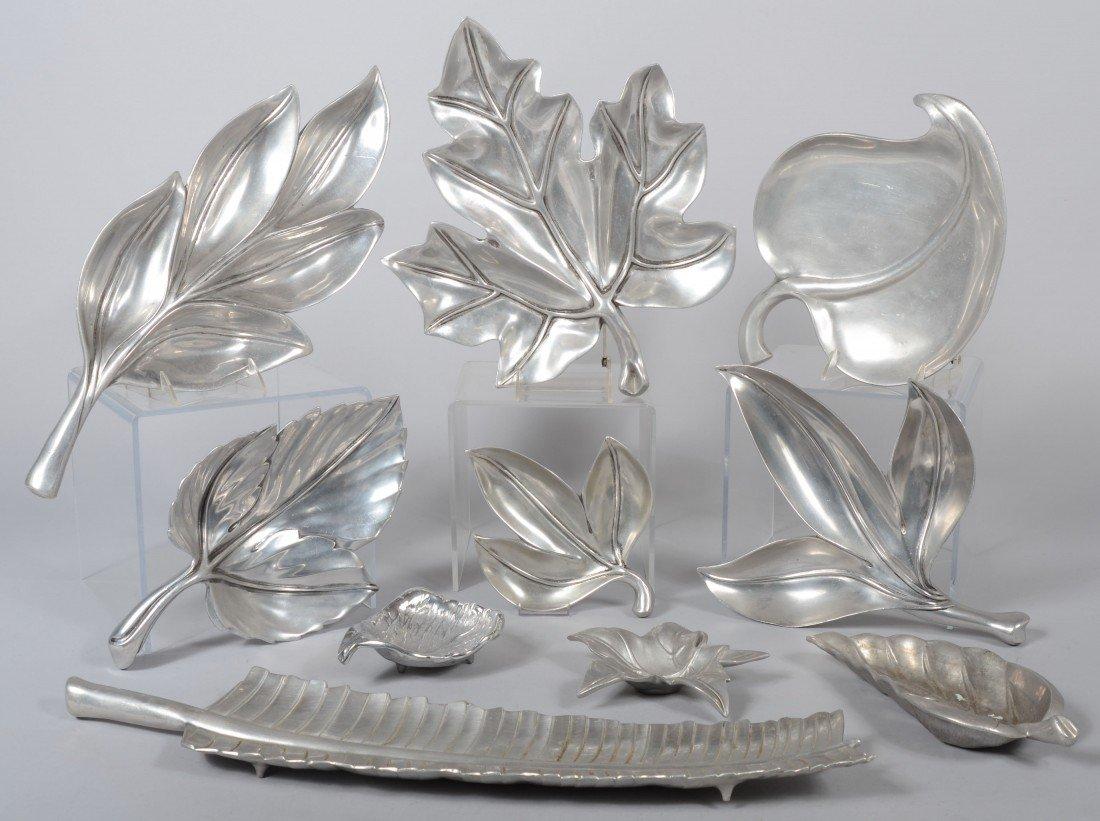 187: Ten Pieces of Various Leaf Pattern Cast Aluminum b