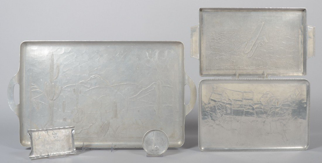 188: Four Various Rectangular Trays with Embossed Scene