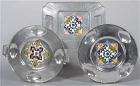 305: Three Pieces of Cellini-Craft Aluminum with Glazed