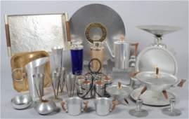 Lot of Mid-Century Spun Aluminum Items including R