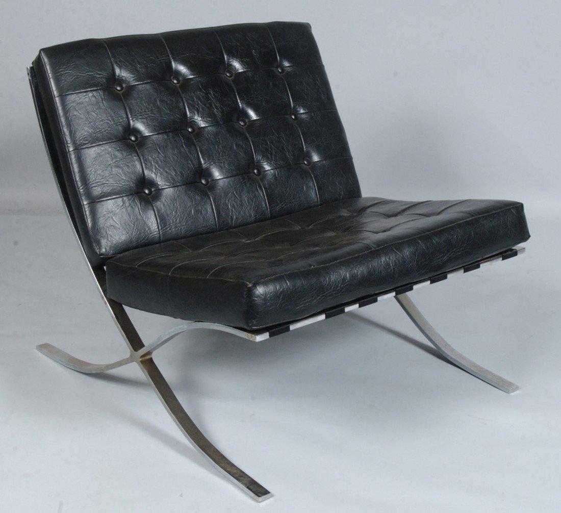 Mid Century Modern Chrome X Frame Barcelona Chair