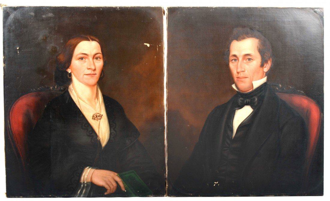 1: Pair of Oil on Canvas Portraits, unsigned man and wo