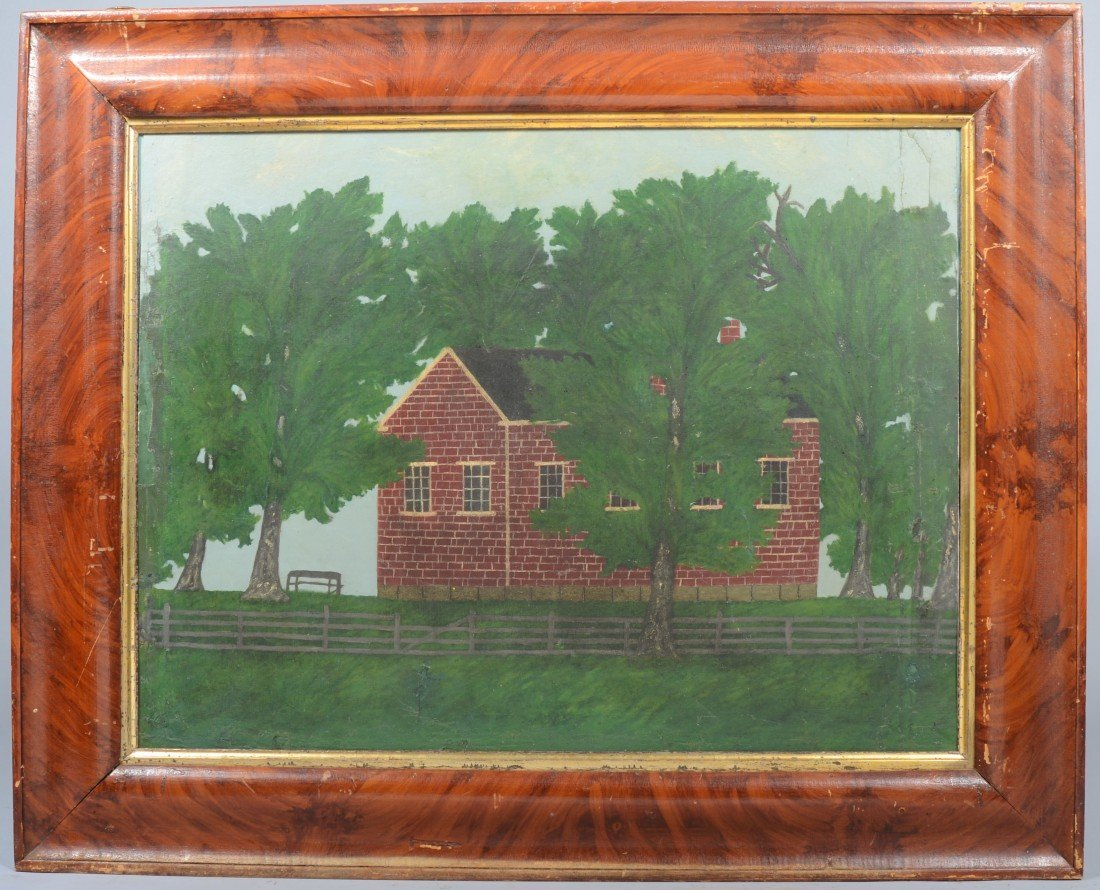 2: Folk Art Painting of a Brick House in Tree Grove wit