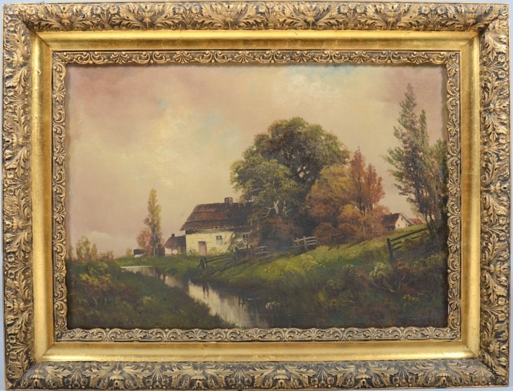 3: Oil on Canvas of Landscape with White Stone Cottage,