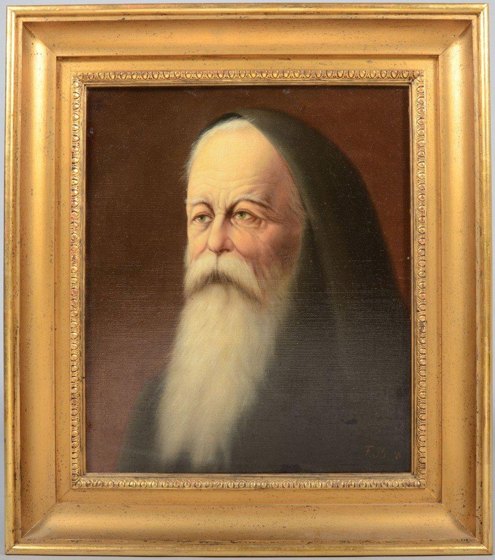 4: Oil on Canvas of Elderly Bearded Man in Hood, signed
