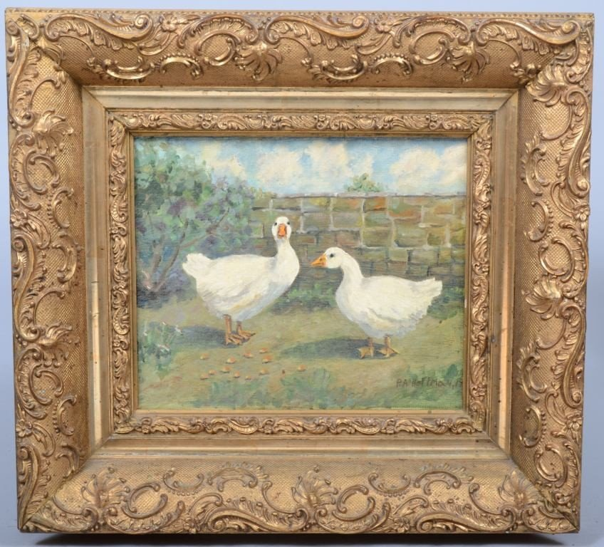 """6: Oil on Canvas of Two White Geese, signed """"P. A. Hoff"""