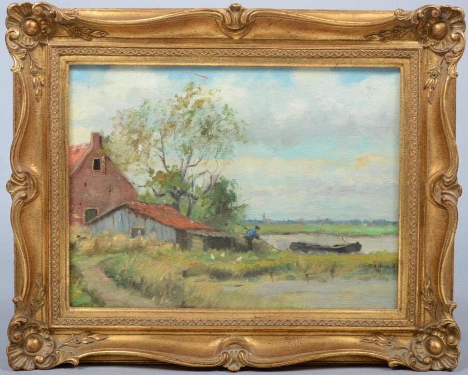 7: Oil on Canvas of Farmstead by Body of Water, signed