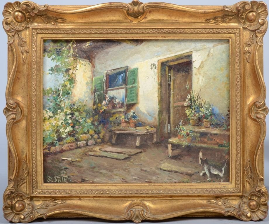 8: Oil on Canvas of House Courtyard with Flowers and a