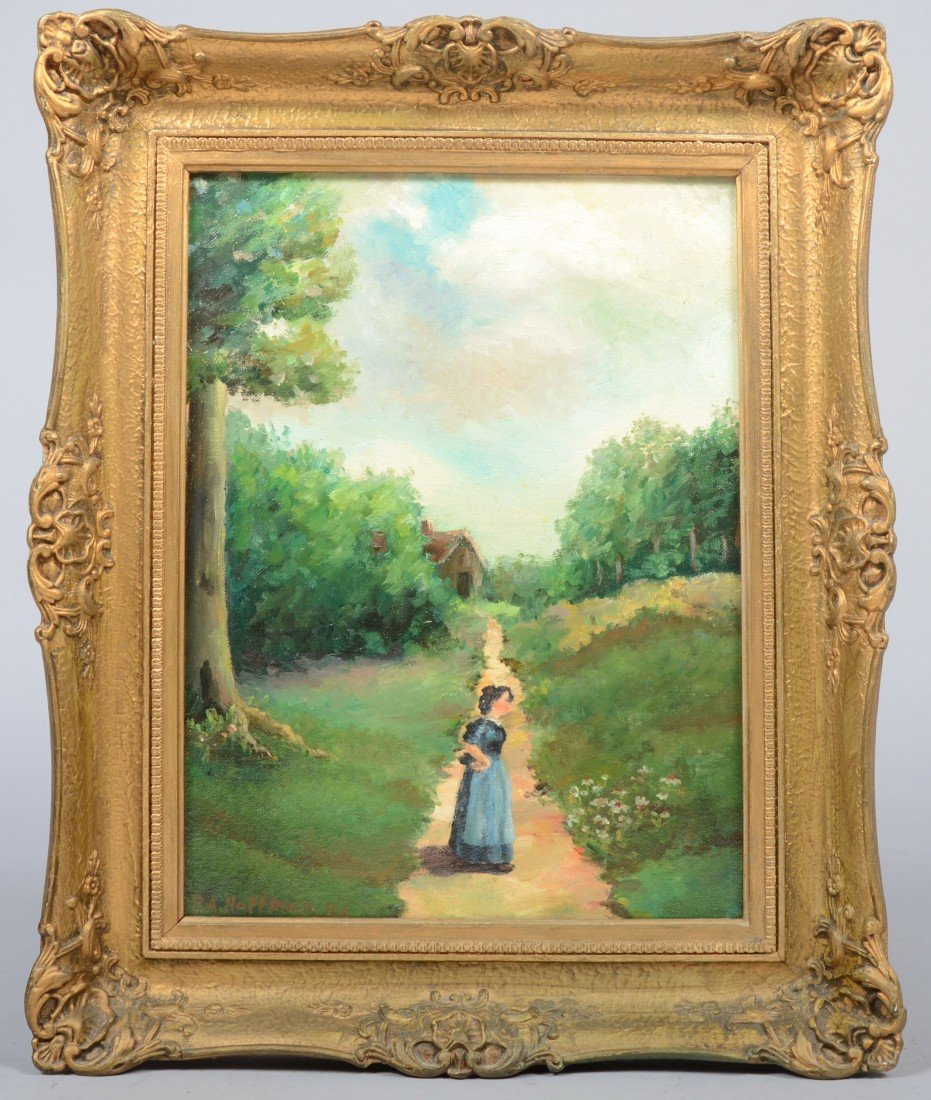 """9: Oil on Artist's Board of Woman on a Path, signed """"P."""