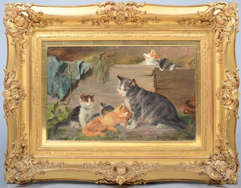 10: Oil on Canvas of Six Cats, unsigned. Upon research